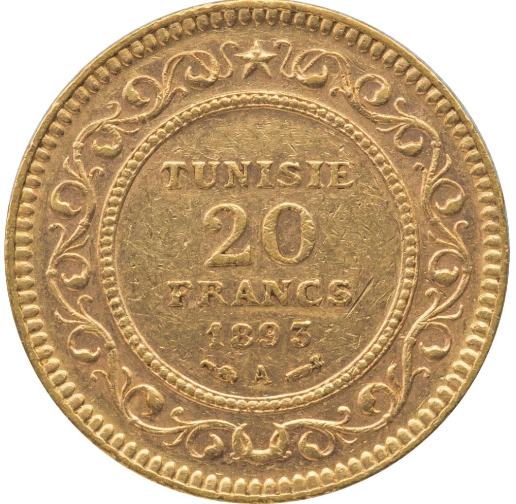 フランス領チュニジア20フラン金貨(1893年)おもて面