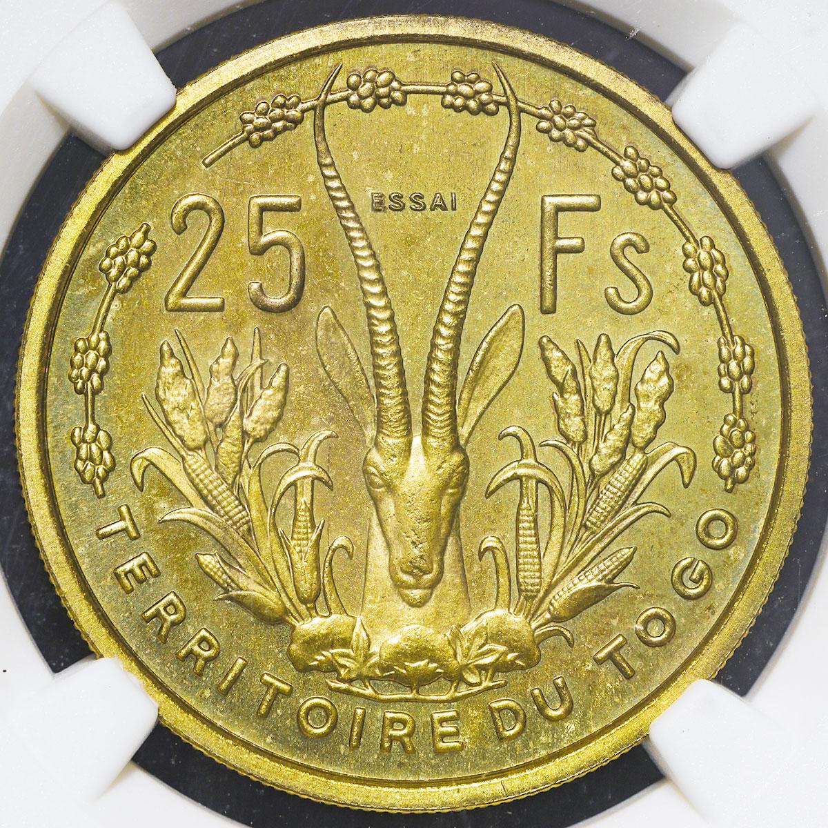 フランス領トーゴ25フラン試鋳貨(裏面)/ TOGO Essai 25Francs