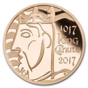 クヌート1世戴冠1000周年記念5ポンド金貨(表面)