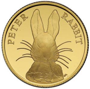 ピーターラビット1/4オンス金貨(ビアトリクス・ポター生誕150周年)表面
